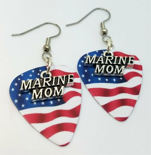 Marine Mom Charms Guitar Pick Earrings Pick Your Color