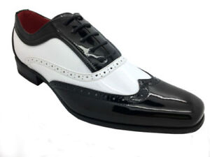 MENS-BROGUE-PATENT-GANGSTER-ROUNDED-LEATHER-JAZZ-SPAT-PARTY-SHOES-Black-White