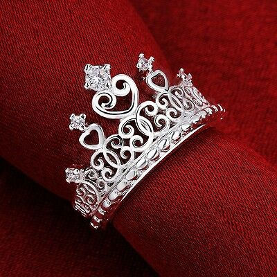 Pretty Princess Queen Crown Jewelry Women Ring Zircon Sterling Silver Plated CN