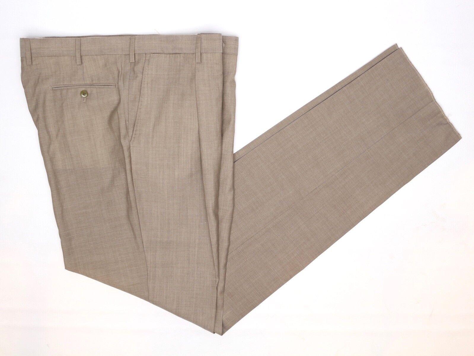 Neu mit Etiketten Herren Anzughose 40 Massiv Beige Wolle Plissiert Hosen