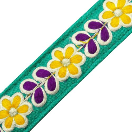 """1 Yd 2.5 Cm Wd Green Embroidered Ribbon Trim Craft Sewing Supply  RT143/""""C"""