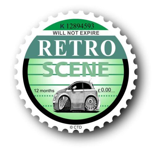 Novelty Retro Tax Disc Motif /& Koolart New shape Fiat 500 image car sticker