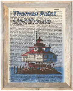 Thomas Point Lighthouse Maryland Altered Art Print Upcycled Vintage Dictionary