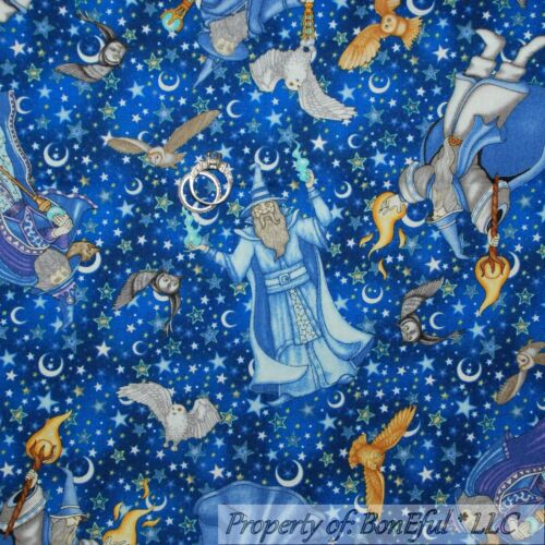 BonEful Fabric FQ Cotton Quilt Blue White Star Wizard Warlock Owl Moon Gold Ball