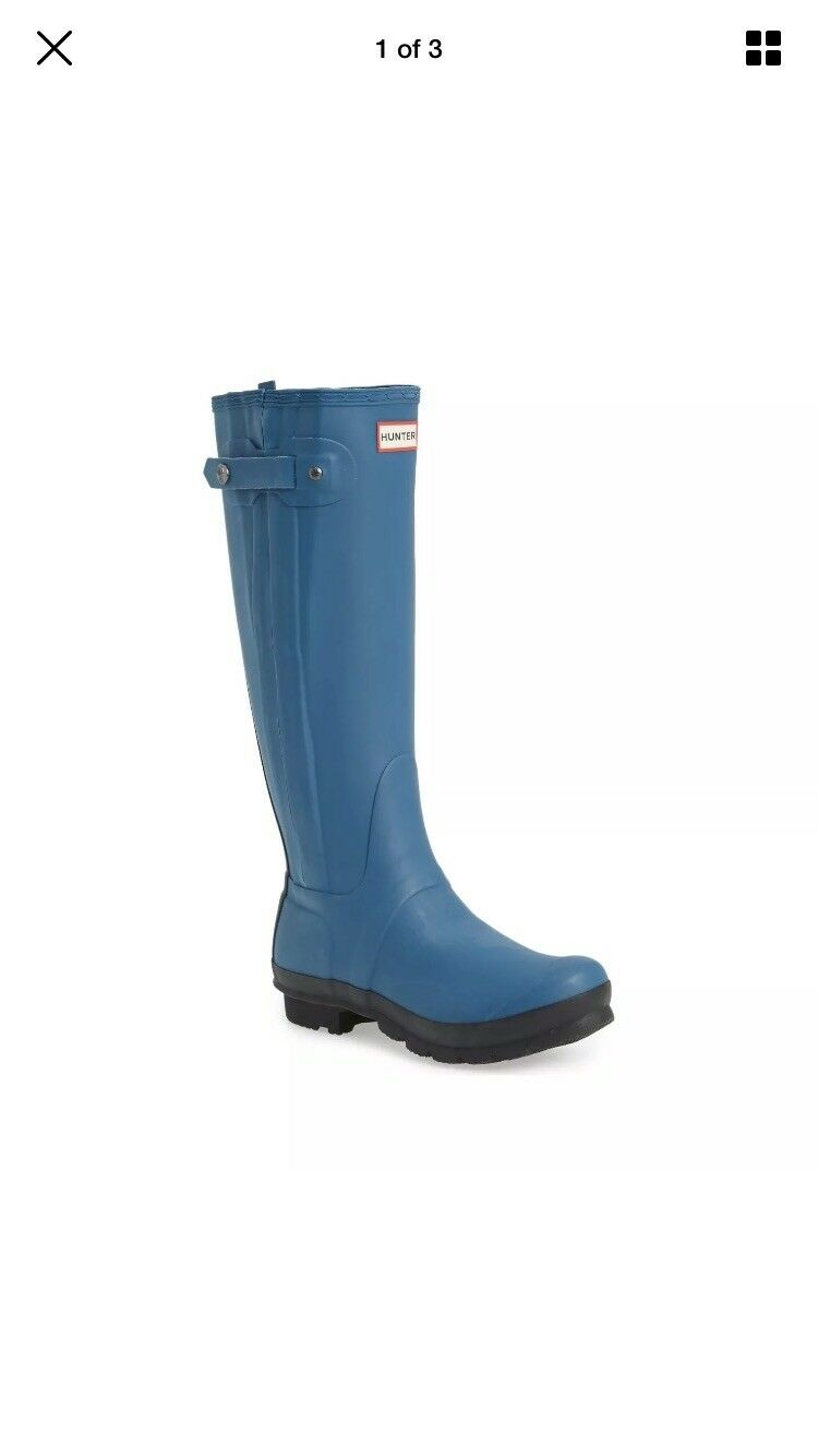 Hunter botas Original Slim Zip Alto Wellie botas Hunter de caucho para lluvia 9 Azul Negro Wellington 2c3d59
