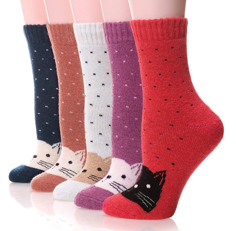 5186cc8e08bf8 Women's Fashion Soft Printed Wool Warm Winter Heavy Thermal Thick Socks 5  Pk Cat