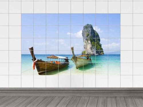 exotischer Ausblick Fliesenaufkleber Fliesenbild Strand mit Booten