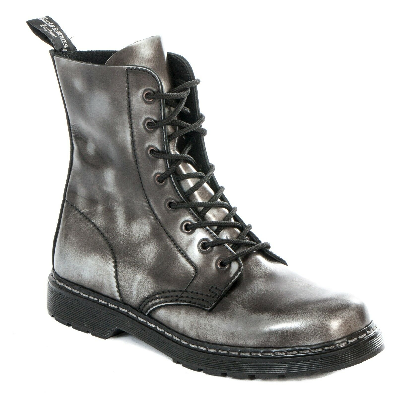 Boots & Braces - easy 8-Loch silver Schwarz Rub-off schwarz Stiefel Rangers Schwarz silver da28f3