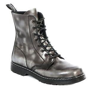 Boots-amp-Braces-easy-8-Loch-silver-Rub-off-schwarz-Stiefel-Rangers-Schwarz