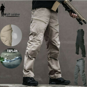 Mens-Army-Military-Pants-Tactical-Combat-Cargo-Hiking-Camping-Casual-Waterproof