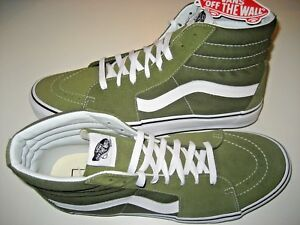 2478170bc128 Vans Womens Sk8-Hi Winter Moss Green White Canvas Suede Skate Shoes ...