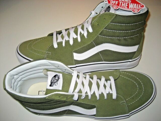 Vans Mens Sk8 Hi Winter Moss Green White Canvas Suede Skate Shoes Size 10 NWT