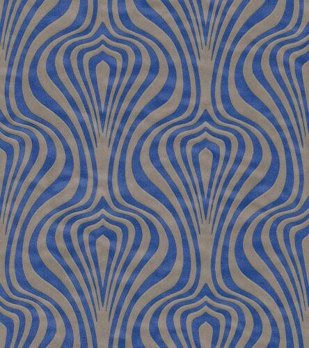 Vliestapete Retro Wellen hellbraun blau Tapete Rasch En Suite 546019 3,46€//1qm