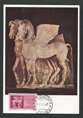 Ehrlich Italien Mk 1958 Pegasus Skulptur Pferd Horse Carte Maximum Card Mc Cm 60681 Einen Effekt In Richtung Klare Sicht Erzeugen
