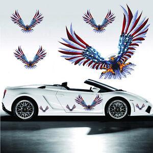 1-Set-4Pcs-Car-Decal-Flying-Hawk-Auto-Truck-Hood-Side-Eagle-USA-Flag-Sticker