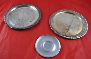 Lot of 3 Metal Silver Plated & Hammered Aluminum Serving Trays Leonard BW L3Y39