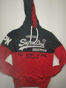lowest price c8811 11335 Details about Superdry Men's Hooded Sweater Size S Hoodie Pullover  Embroidered Red Faded Black