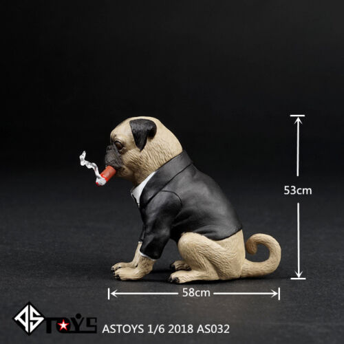 "ASTOYS AS032 Simulation Pug Puppy Dog Animal Model Cigar 1//6 Fit 12/"" Figure Toys"