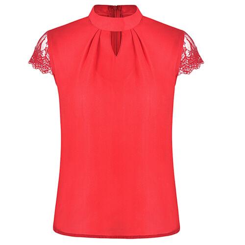 Femme Mousseline Soie Dentelle Manche Courte T-shirt Top Doux Splice Crop Blouse