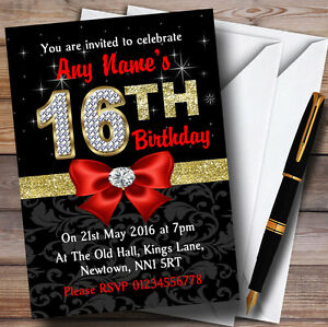 Red Black Gold Diamond 16th Birthday Party Personalised