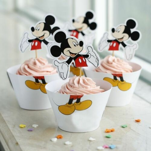 Minnie Mouse Cupcake Mickey Mouse Papier Cupcake Wrappers Toppers Anniversaire Enfants