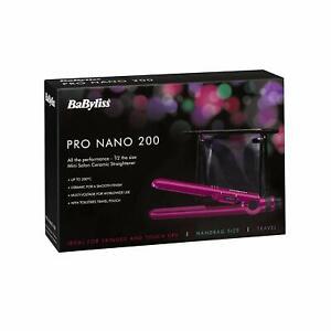 BaByliss 2861BAU Rosa Voltaje Doble Pro Nano 200 Plancha de Pelo W/Bolsa / Nuevo