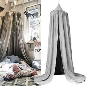 Grey-Kids-Baby-Bedding-Round-Dome-Bed-Canopy-Netting-Bedcover-Mosquito-Net