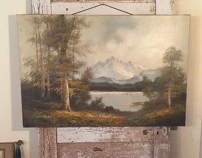 Wonderful Vintage Landscape Painting - Woodlands & Mountain Lake