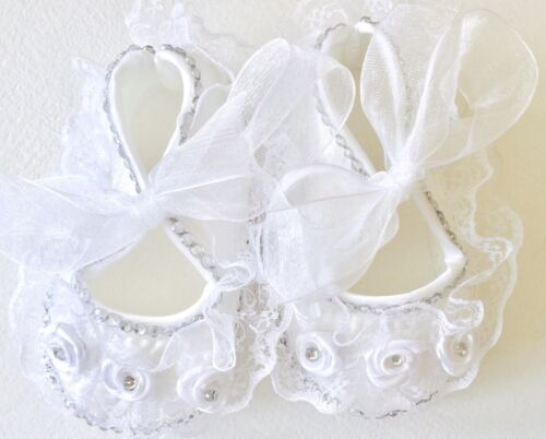 White lace and satin Romany Bling Pram Shoes// Christening //wedding//bridesmaid