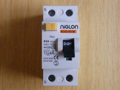 Pack of 2 x Niglon RCD2-63//30 63 amp 30ma double pole RCD din rail fixing