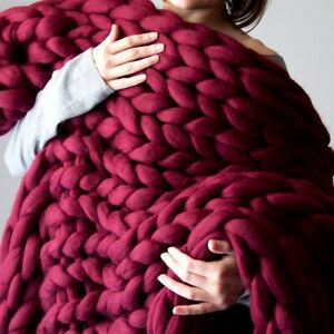 Chunky-Knitted-Thick-Blanket-Winter-Warm-Hand-Yarn-Merino-Bulky-Throw-Sofa-Knit