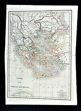 1830 Langlois Atlas Map - Ancient Greece - Athens Sparta Corinth Delphi Olympia
