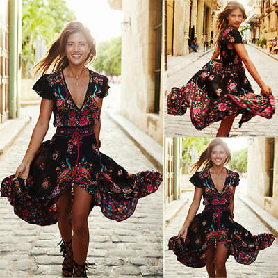 Summer Women Vintage Boho Long Maxi Evening Party Beach Dress Floral Sundress***