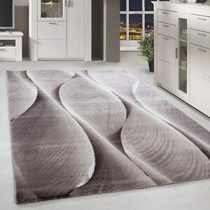Moderner-Kurzflor-Teppich-Karo-abstakt-Gemustert-Beige-Weiss-Meliert-Wohnzimmer