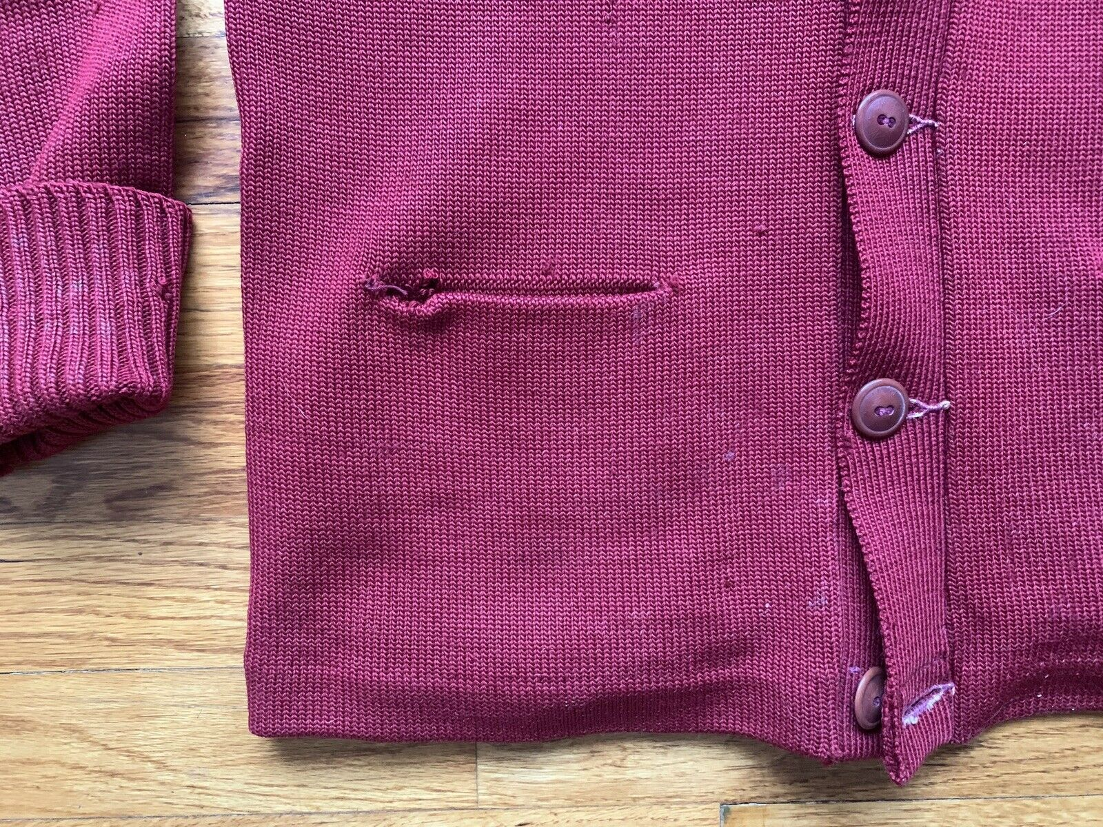40's/50's Letterman Sweater Knit Cardigan Button … - image 6