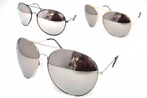 Aviator-Sunglasses-Extra-Large-Silver-Mirrored-Lenses-Black-Gold-Silver-Frames