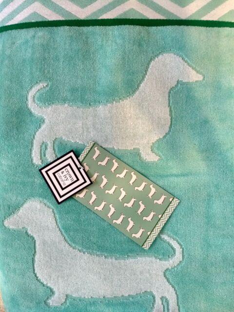 "Crown ClassyDachshund Dog Turquoise Jacquard Extra Long Beach Towel 36"" X 72"""