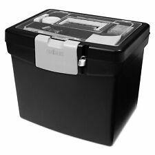 Storex Portable File Box With Large Organizer Lid 13 14 X 10 78 X 11 Black