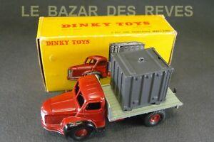 DINKY-TOYS-FRANCE-BERLIET-plateau-avec-container-Boite-REF-34-B-lot2