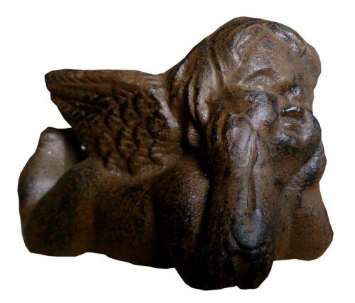 Dekofigur Engel liegend 9x4x5,5 cm Dekoration Garten Gußeisen Rost Optik