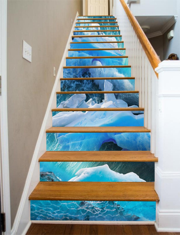 3D Blau sea water 7 Stair Risers Decoration Photo Mural Vinyl Decal Wallpaper UK