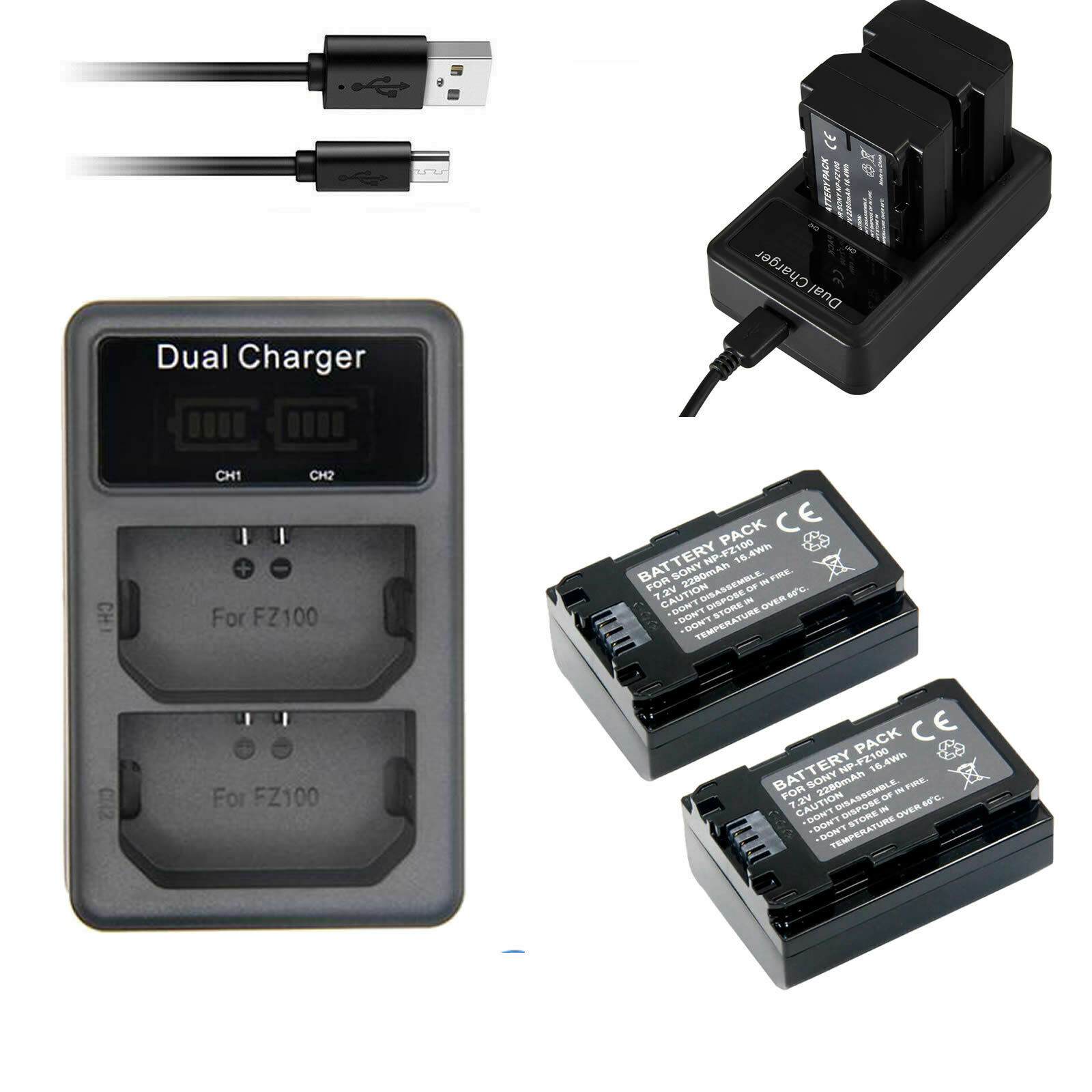 (2Pack) NP-FZ100 Battery &LED Dual Charger for Sony Alpha 6600 a6600 ILCE-6600 M