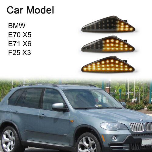 Smoke Lens Dynamic LED Indicator Side Markers Light For BMW E70 X5 E71 X6 F25 X3