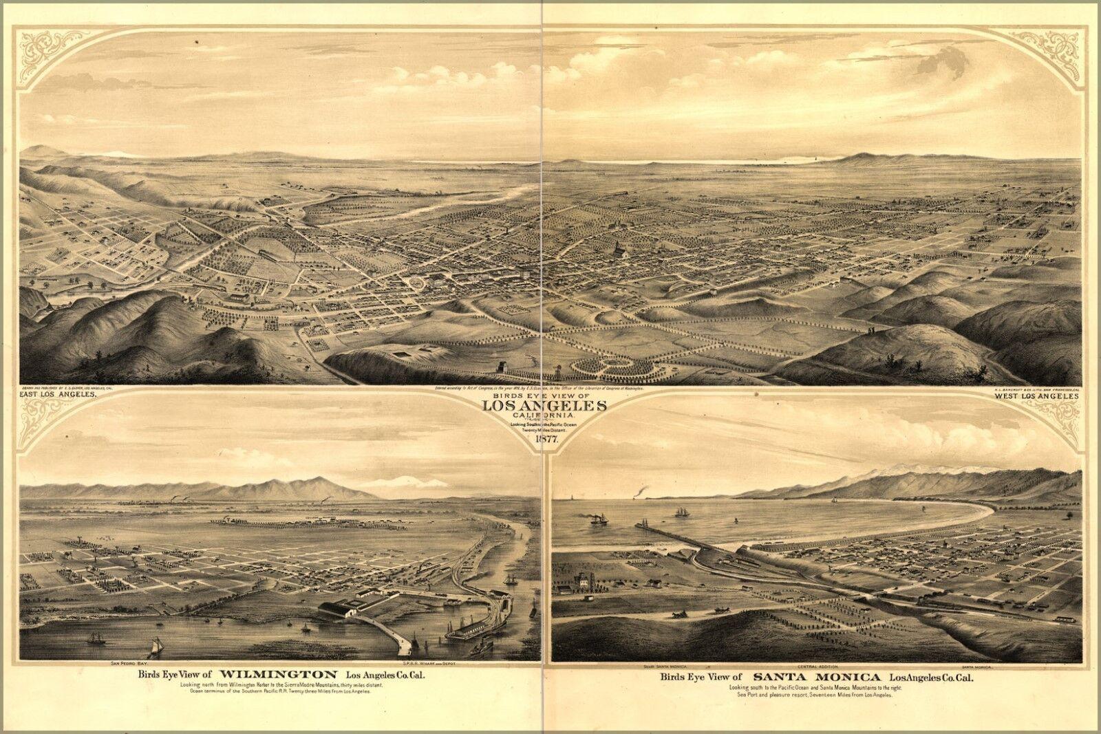 Plakat, Viele Größen; Vogelauge Ausblick Karte von Los Angeles, Kalifornien