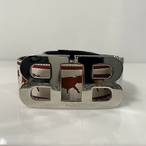 Y-1338115-Neuf-Bally-Anistern-Animal-Blanc-Rouge-Ceinture-Boucle-110-44-pour-42