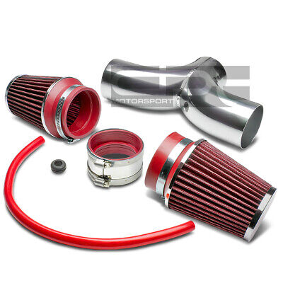 FOR 97-04 CORVETTE//JEEP WJ KJ//DAKOTA DUAL INTAKE INDUCTION PIPE+RED AIR FILTER