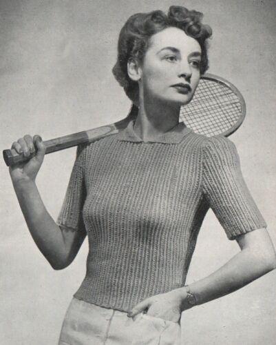 "34/""-36/"" Bust. Vintage Knitting Pattern Ladies 1940s Rib Sweater//Jumper"