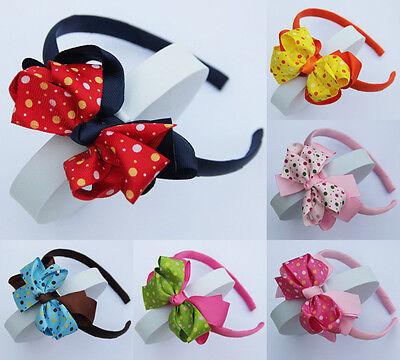 Bulk Lots/6PCS Girls Baby Cute Dot Bow Flower Hair Top Headbands