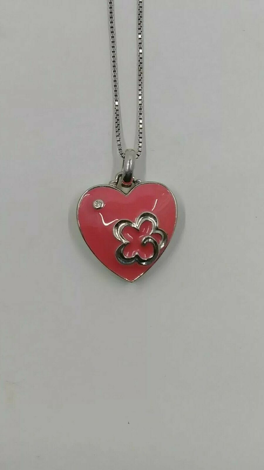 Samuel Aaron Pink Enamel Heart with Diamond Pendant and Chain, Sterling