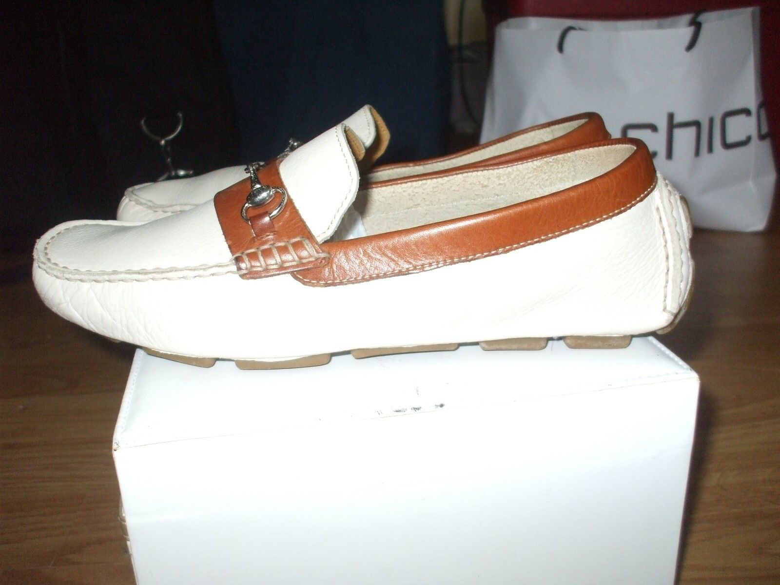 Cole Haan white brown buckle leather oxfords loafers school casual comfort shoes